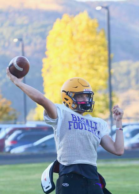 Basalt quarterback Matty Gillis throws during practice on Tuesday, Oct. 8, 2019, in Basalt. (Photo by Austin Colbert/The Aspen Times)