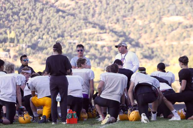 Basalt coach Carl Frerichs talks during practice on Tuesday, Oct. 8, 2019, in Basalt. (Photo by Austin Colbert/The Aspen Times)