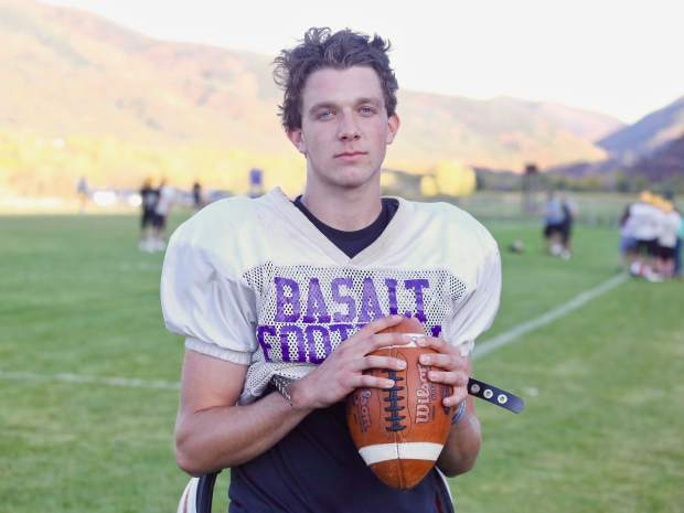 Basalt junior quarterback Matty Gillis stops for a photo during practice on Tuesday, Oct. 8, 2019, in Basalt. (Photo by Austin Colbert/The Aspen Times)