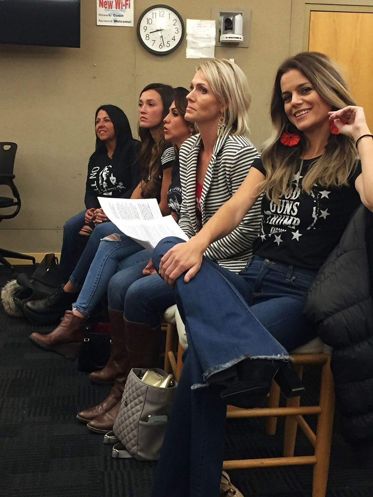 Maggie Silvers, along with other gun advocates, sit in Aspen City Council chambers prior to elected officials passing an ordinance banning deadly weapons from being brought into city buildings unless individuals have a concealed weapons permit.