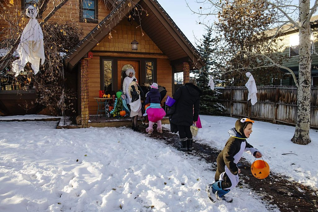 Children trick-or-treat in the North Forty Neighborhood on Thursday, October 31, 2019. (Kelsey Brunner/The Aspen Times)