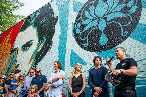 "Artist Shepard Fairey at the 2018 unveiling of ""Ideal Power"" in downtown Aspen."
