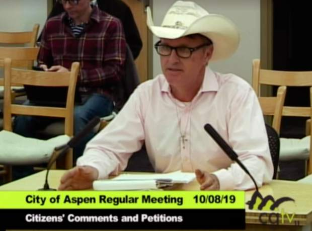 Lee Mulcahy speaks in October to the Aspen City Council.