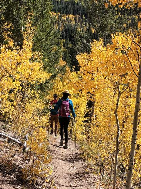 Hikers Zach Nichols and Hannah Condon descend a trail flanked by yellow aspen leaves on Sunday.