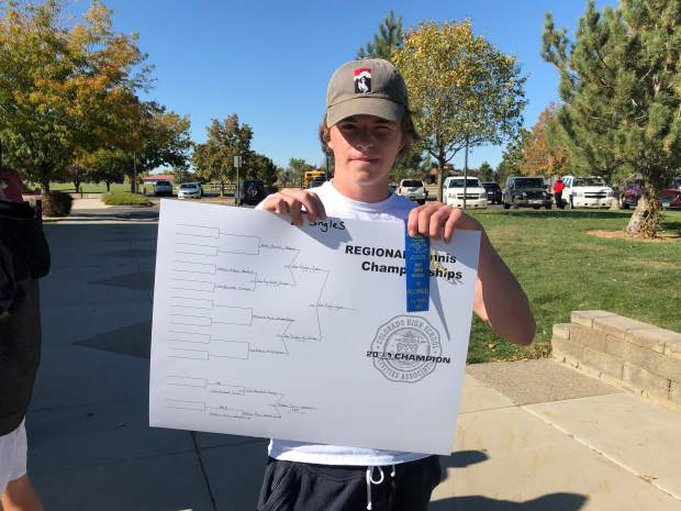 Aspen's No. 2 singles player Alex Mosher after winning his boys tennis regional on Friday, Oct. 11, 2019, in Grand Junction.