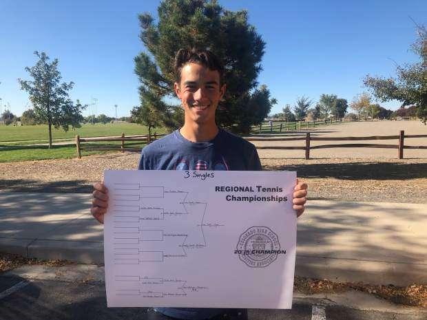Aspen's No. 3 singles player Liam Sunkel after winning his boys tennis regional on Friday, Oct. 11, 2019, in Grand Junction.