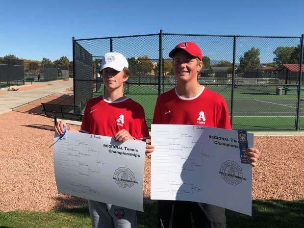 Aspen's No. 3 doubles team of Ethan Godfrey and Liam Farrey after winning their boys tennis regional on Friday, Oct. 11, 2019, in Grand Junction.