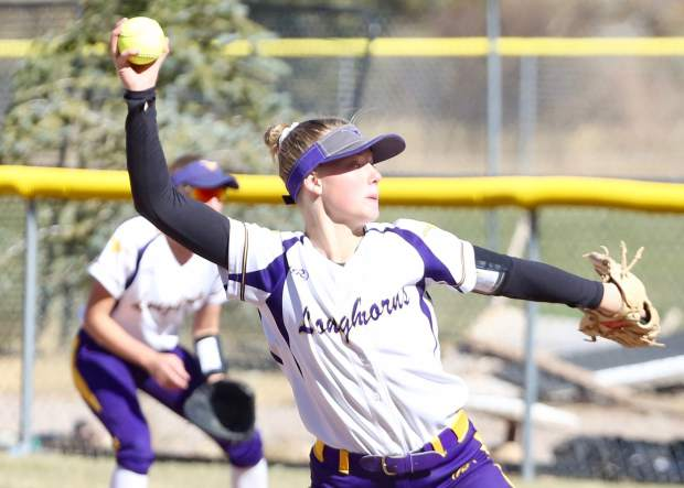 Basalt High School softball pitcher Maya Lindgren throws against Lamar in the regional championship game on Saturday, Oct. 19, 2019, on the BHS field. (Photo by Austin Colbert/The Aspen Times)