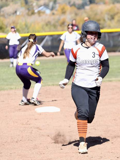 Lamar's Ellee Page approaches third base in the regional championship game against Basalt High School on Saturday, Oct. 19, 2019, on the BHS field. (Photo by Austin Colbert/The Aspen Times)
