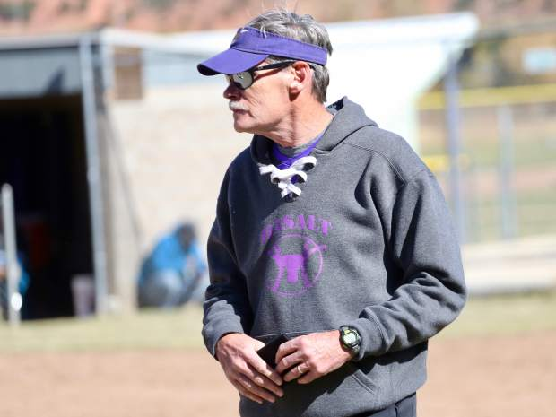 Basalt High School softball coach David Miller watches during the regional championship game against Lamar on Saturday, Oct. 19, 2019, on the BHS field. (Photo by Austin Colbert/The Aspen Times)