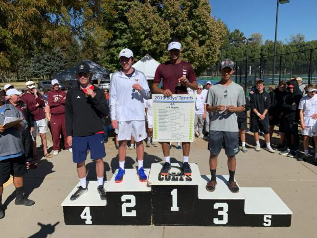 Aspen's Alex Mosher stands on the podium after finishing fourth in the No. 2 singles flight at the Class 4A state tennis tournament on Saturday in Pueblo.
