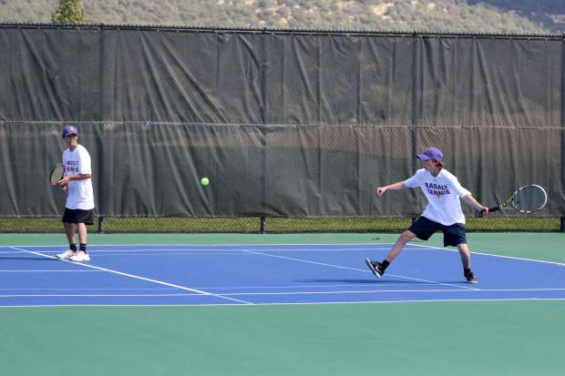 Basalt High School tennis competes in a match earlier this season.