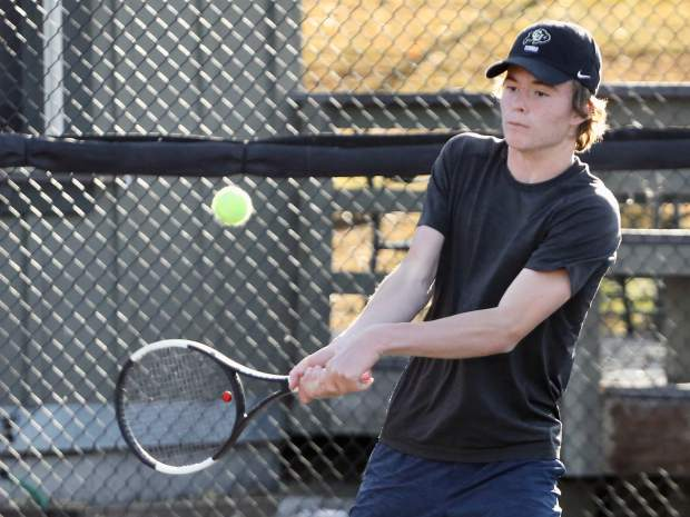 Aspen High School tennis player Alex Mosher practices on Tuesday, Oct. 15, 2019, at Snowmass Club. (Photo by Austin Colbert/The Aspen Times)