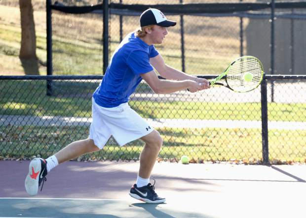 Aspen High School tennis player Lukee Tralins practices on Tuesday, Oct. 15, 2019, at Snowmass Club. (Photo by Austin Colbert/The Aspen Times)