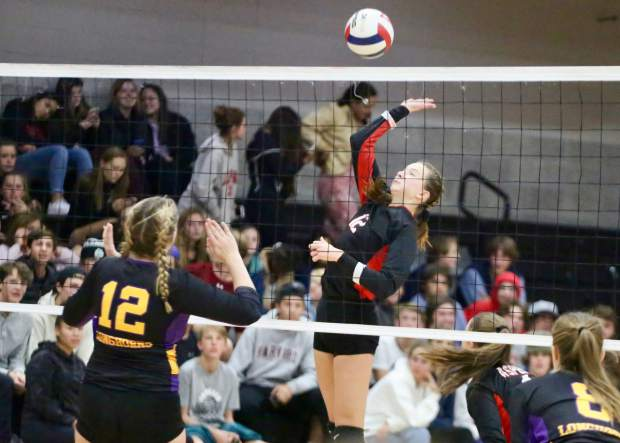 Aspen High School volleyball hosts Basalt on Tuesday, Oct. 15, 2019, inside the AHS gymnasium. (Photo by Austin Colbert/The Aspen Times)