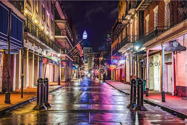 Bourbon Street in Downtown New Orleans, Louisiana, USA