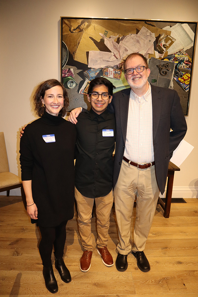 Madelaine Euloch with Student Diplomacy Corps, student participant Diego Valdez, and Tony Allen, co-founder and executive director of Student Diplomacy Corps.