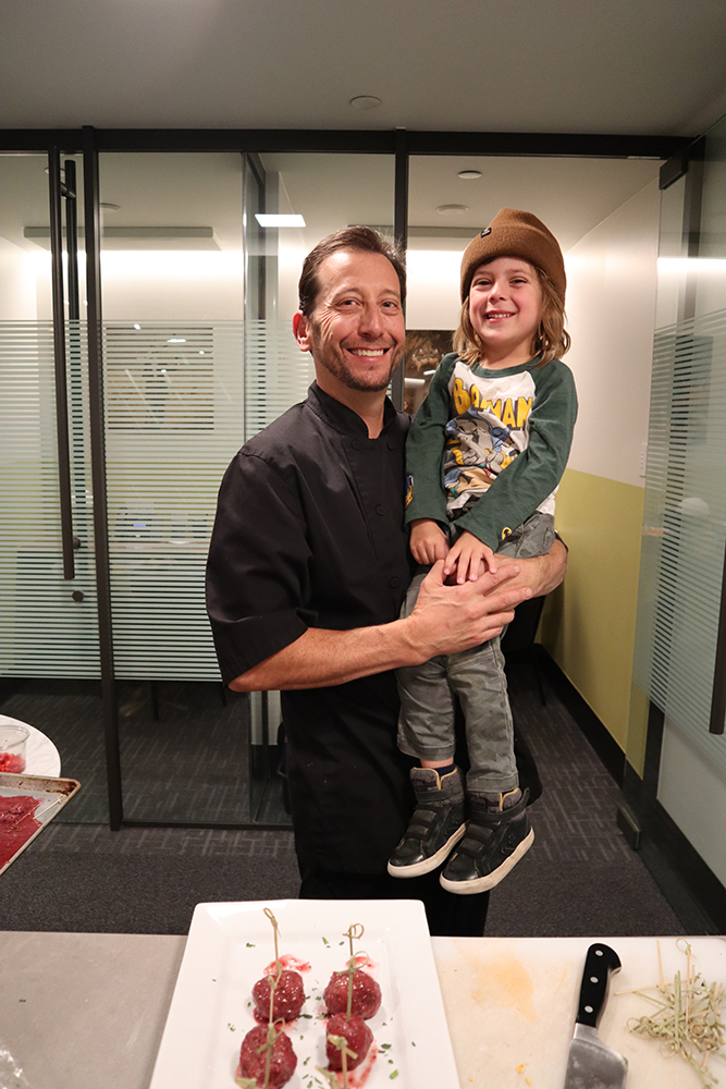 Chef Greg Topper and his sous-chef, Rex.