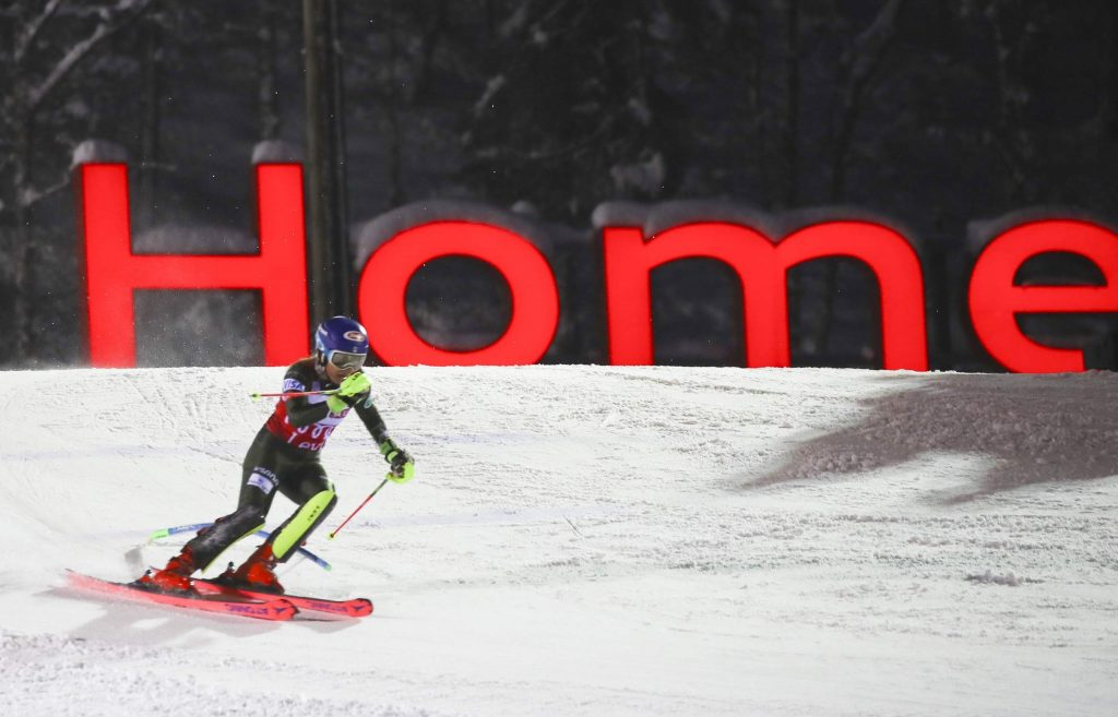 United States' Mikaela Shiffrin competes in an alpine ski, women's slalom in Levi, Finland, Saturday, Nov. 23, 2019. (AP Photo/Alessandro Trovati)
