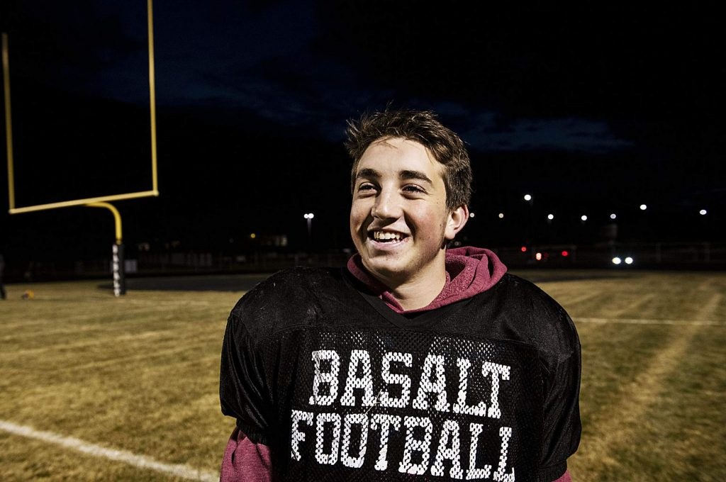 Basalt High School sophomore Sam Sherry poses for a portrait after football practice on the field in Basalt on Thursday, November 20, 2019. (Kelsey Brunner/The Aspen Times)