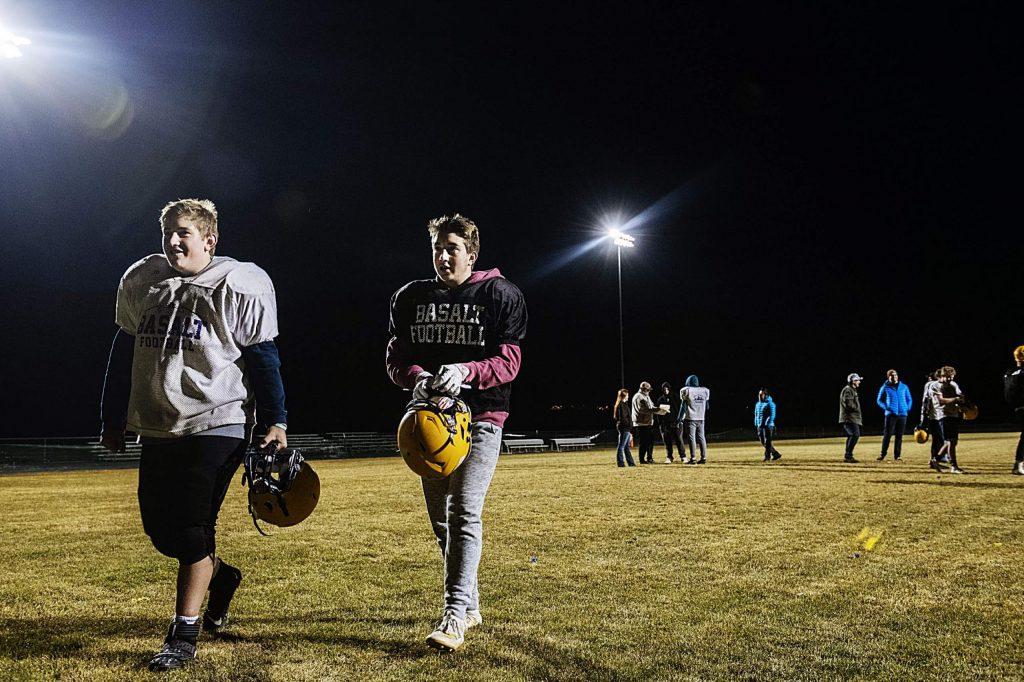 Brothers Daniel, left, and Sam Sherry walk off the field after practice at Basalt High School on Thursday, November 20, 2019. (Kelsey Brunner/The Aspen Times)