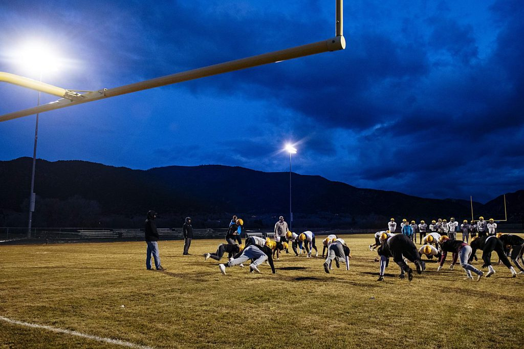 Basalt High School runs drills during football practice on the field in Basalt on Thursday, November 20, 2019. (Kelsey Brunner/The Aspen Times)