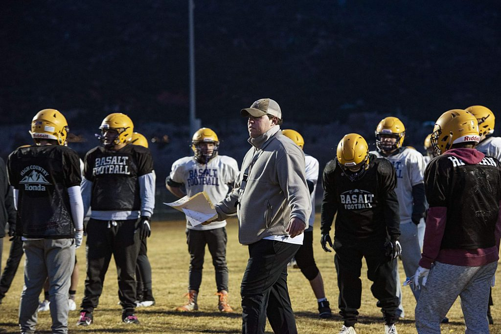Basalt High School head football coach Carl Frerichs gives instruction to his team during practice on Thursday, November 20, 2019. (Kelsey Brunner/The Aspen Times)