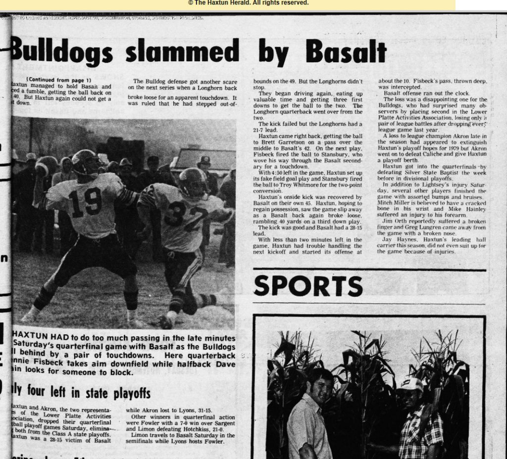 A newspaper clipping from the Haxtun Herald after Basalt High School football's 1979 state quarterfinal win.
