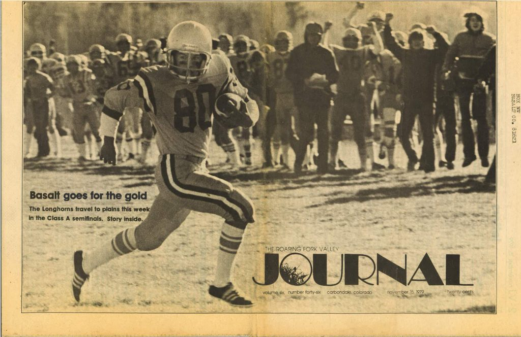 Basalt High School's Duane Bair carries the ball in a 1979 football game for the Longhorns, as seen on the cover of the Roaring Fork Valley Journal from Nov. 15, 1979.
