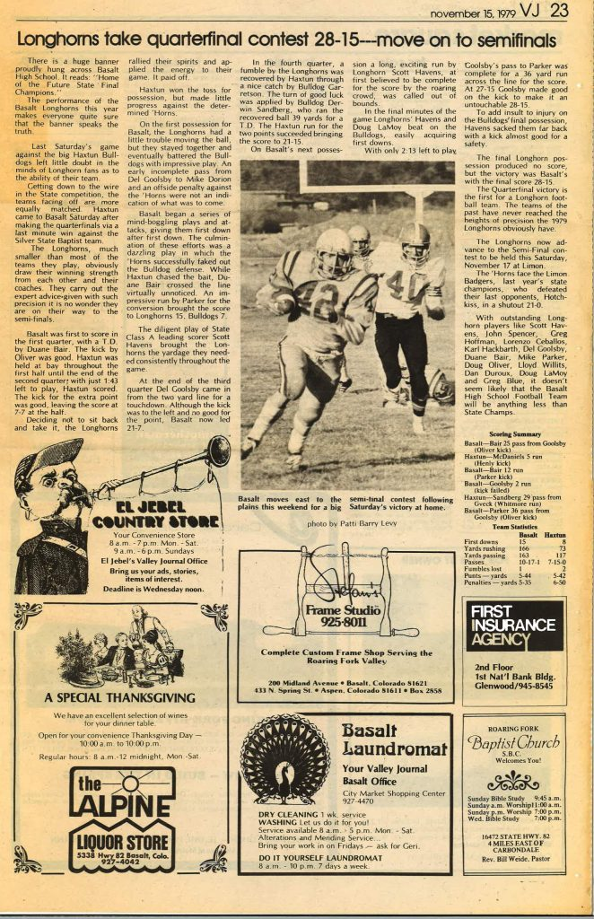 A newspaper clipping from the Roaring Fork Valley Journal after Basalt High School football's 1979 state quarterfinal win.