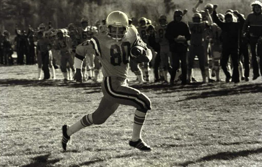 Basalt High School's Duane Bair carries the ball in a 1979 football game for the Longhorns.