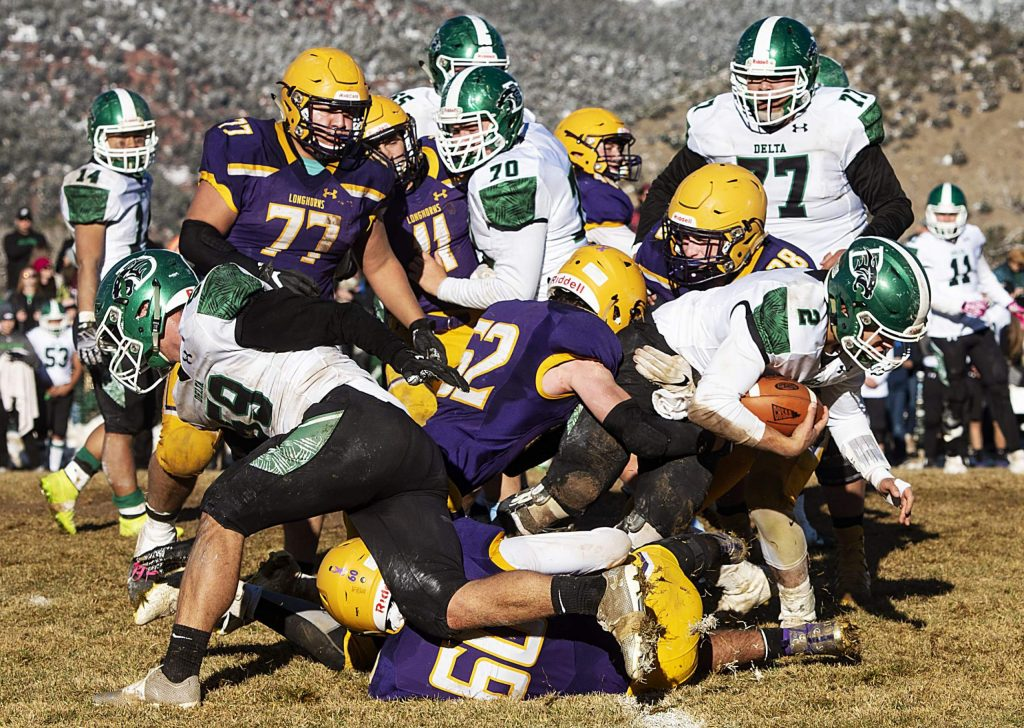 Basalt High School and Delta High School play football during the semifinal game in Basalt on Saturday, November 23, 2019. (Kelsey Brunner/The Aspen Times)