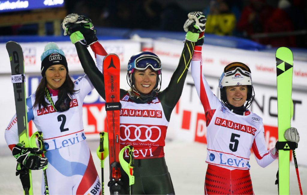 United States' Mikaela Shiffrin, winner of an alpine ski, women's slalom, celebrates with second-placed Switzerland's Wendy Holdener, left, and third-placed Austria's Katharina Truppe, in Levi, Finland, Saturday, Nov. 23, 2019. (AP Photo/Alessandro Trovati)