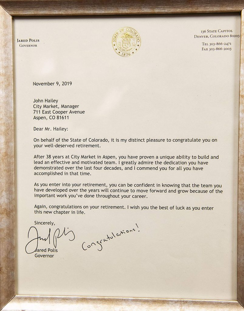 A congratulatory email from Governor Jared Polis sits on the desk of City Market general manager John Hailey in Aspen on Tuesday, November 12, 2019. (Kelsey Brunner/The Aspen Times)