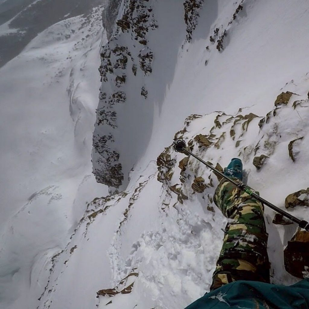 A view looking down at a line from the new ski film