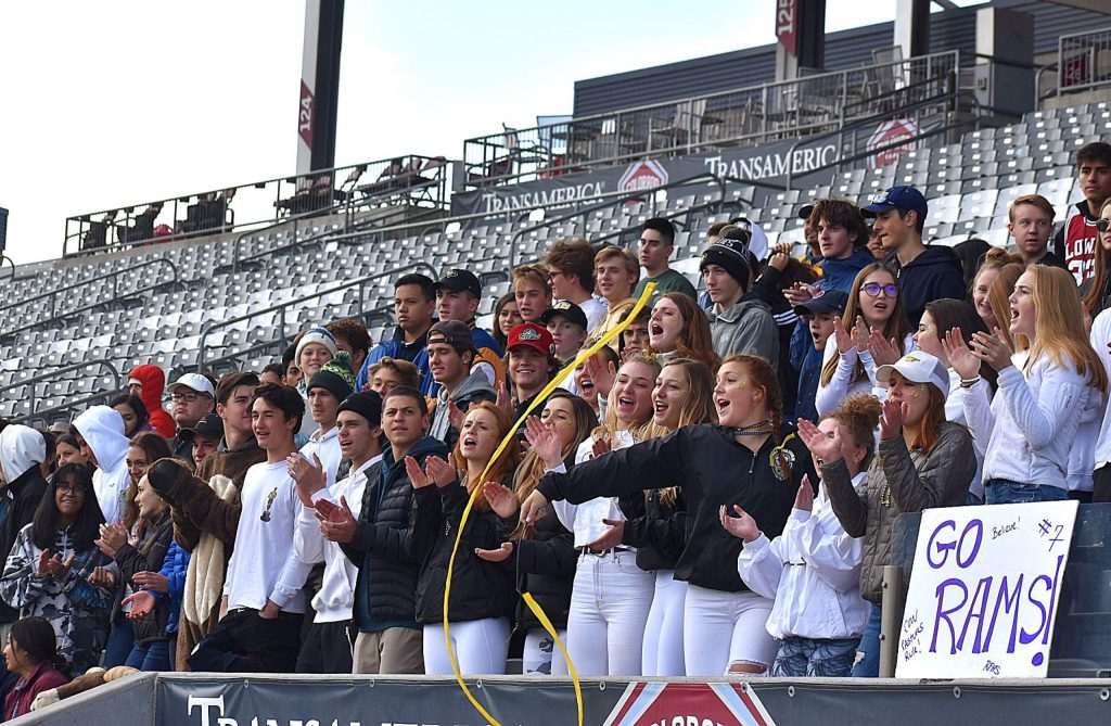 The Roaring Fork Rams student section rivaled that of the home team Kent Denver Sun Devils for Saturday's 3A state soccer championship at Dick's Sporting Goods Park in Commerce City.