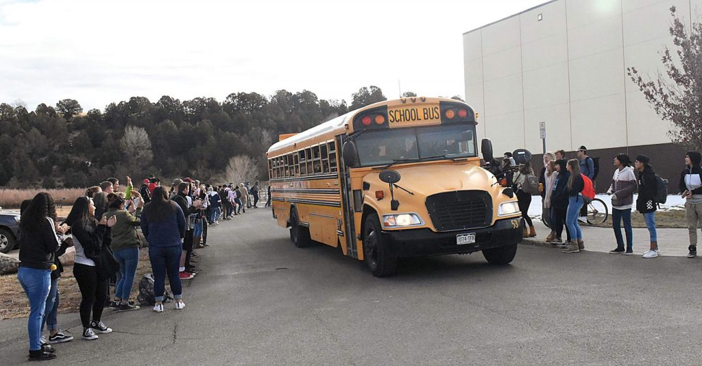 Roaring Fork High School students line the way to send off the Rams' boys soccer team Wednesday morning as they headed for the 3A semifinal game in Denver later that day. The Rams beat Salida 2-1 to advance to Saturday's championship game.