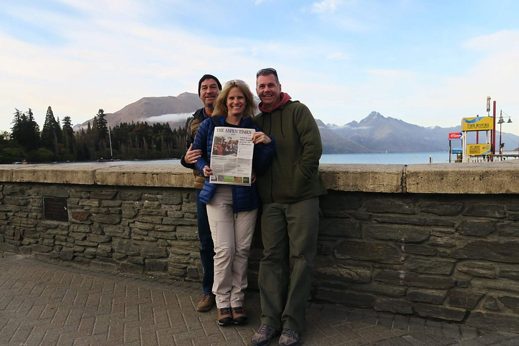 Twenty-year Aspen resident Sharon Mahoney joined former residents (now living in Hawaii) Keith Mayton and Brent Wenner in Aspen's sister city of Queenstown, New Zealand, in October.