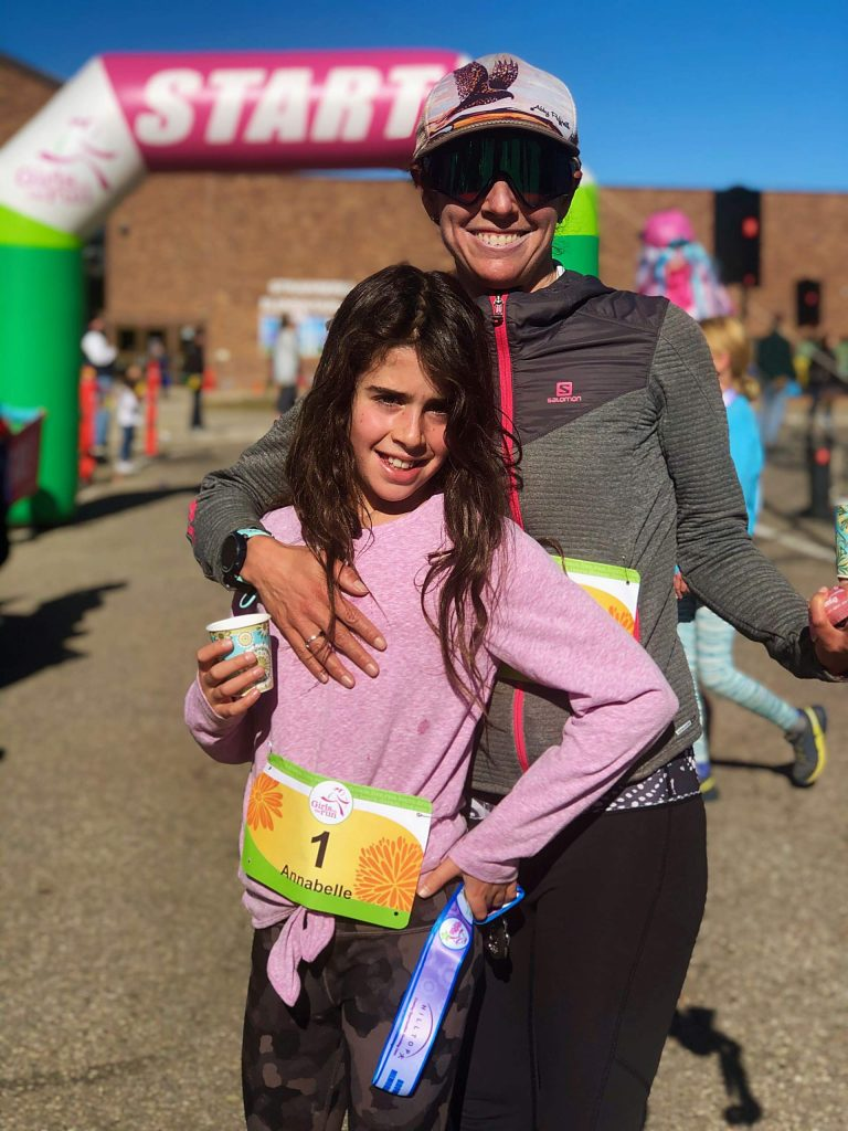 Annabelle and Julie Case at the finish line of the Girls on the Run 5K on Nov. 9 in Steamboat Springs. Runners from GOTR clubs at Aspen Community School, Aspen County Day, Aspen Elementary and Basalt Elementary were among the participants in the annual race for the Western Slope chapter of the national nonprofit that promotes girl empowerment through lessons and running.