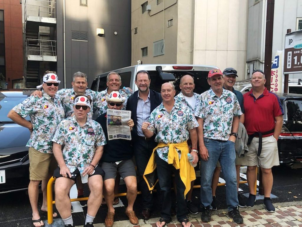 Members of the Gentlemen of Aspen rugby club recently attended the 2019 Rugby World Cup in Yokohama, Japan, and were accompanied by a copy of The Aspen Times. Pictured, from left to right, are Ty Storlie, John Staube, Chuck Crowley, Dougald Gillies, Scotty Davis, Bryan McDude-Mcshane, Tony Grant, Ian Walker, Joe Taylor, Martin T Suthren and Tim Francis. Email your