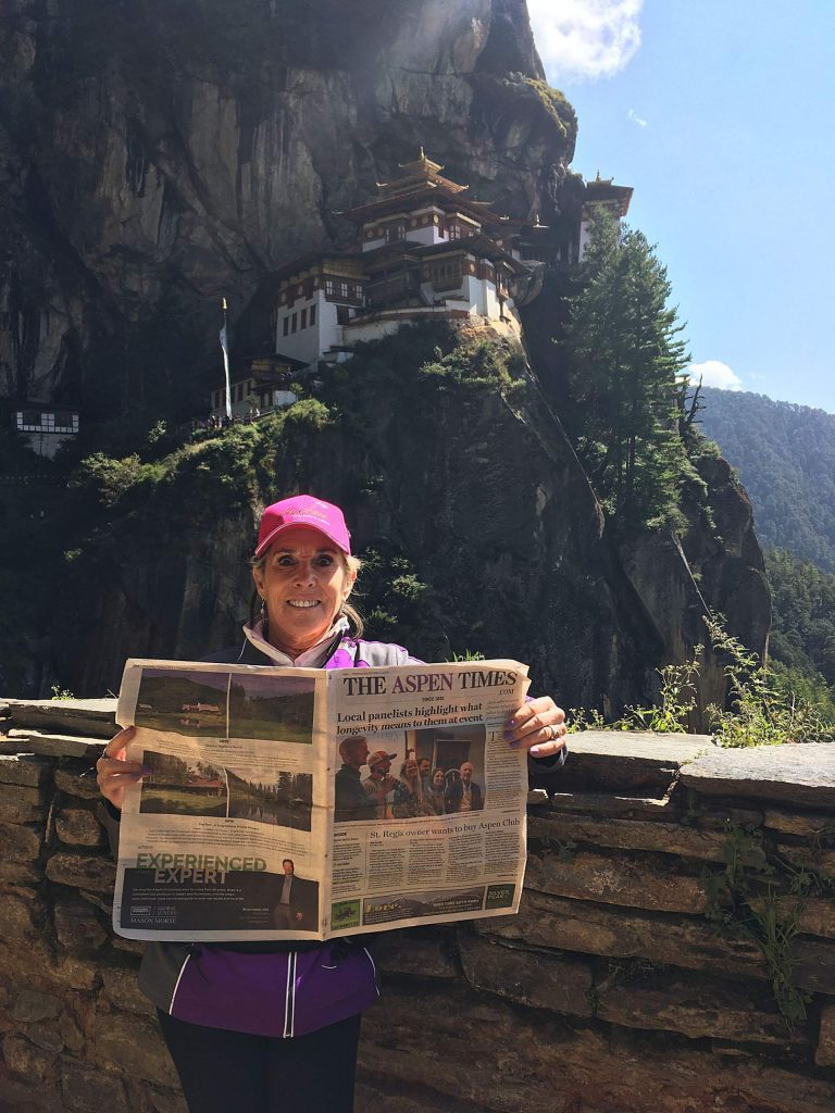 Reader Maddy Lieb stands with an Aspen Times in front of the Tiger's Nest Monastery in Bhutan in South Asia. Email your