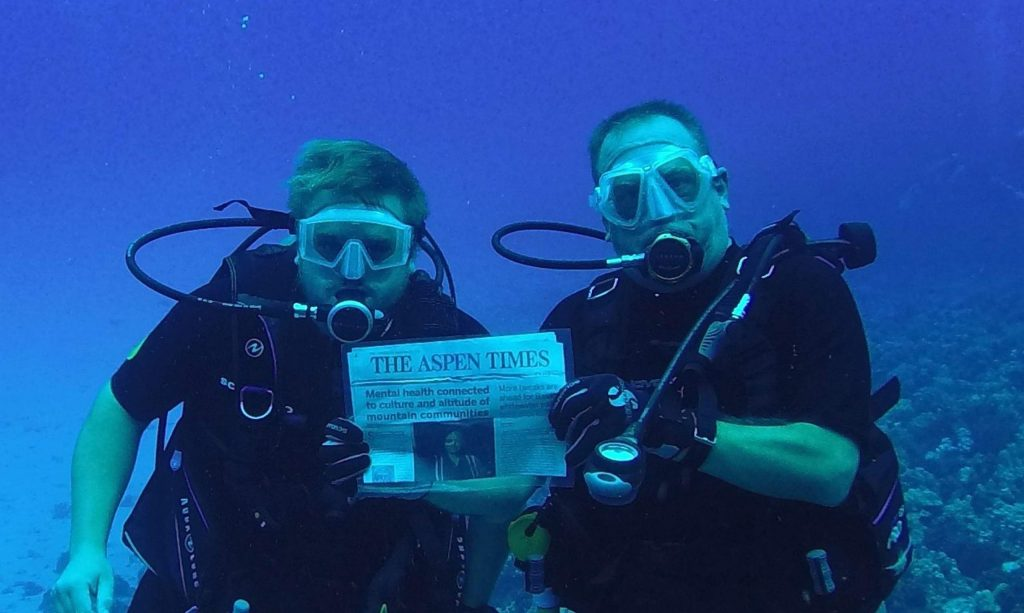 The Aspen Times sunk to a new low Oct. 23 when readers Dennis and Steven Spicer brought the newspaper 75 feet below sea level at Molokini Crater, Maui, Hawaii. Email your