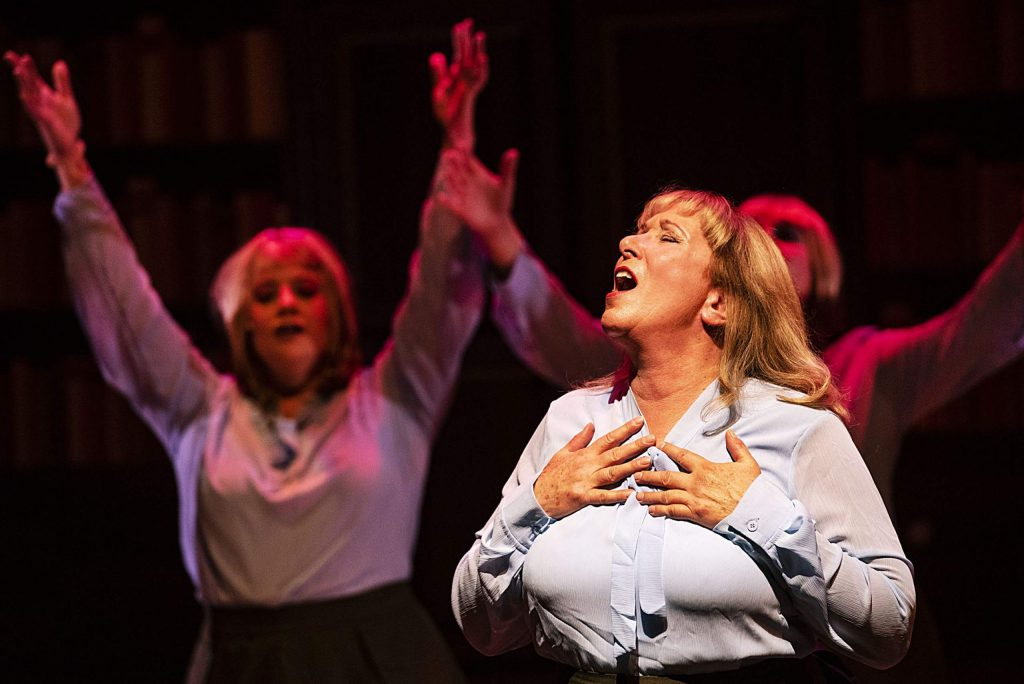 Tammy Baar, as Roz Keith, sings a song about her love for her boss during act one of the play 9 to 5 during dress rehearsal in the Aspen District Theatre on Wednesday, November 6, 2019. (Kelsey Brunner/The Aspen Times)