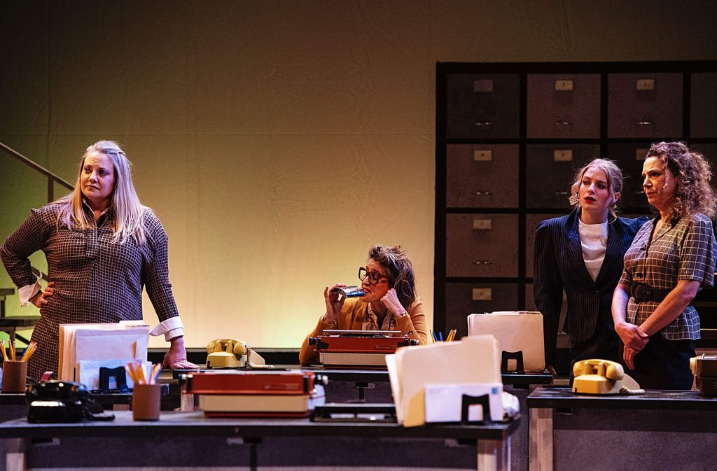 Cast of the play 9 to 5 work through a scene during a dress rehearsal in the Aspen District Theatre on Wednesday, November 6, 2019. (Kelsey Brunner/The Aspen Times)