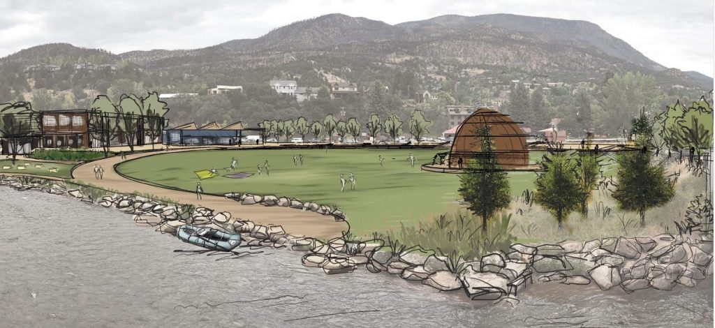 The Basalt River Park will feature a great lawn on the eastern end with a band shell that resembles the charcoal kilns that are an important part of Basalt's history.