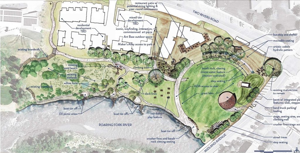 The site plan for Basalt River Park shows the great lawn around the band shell on the east side of the park. Play features for kids and adults are sprinkled throughout the property.