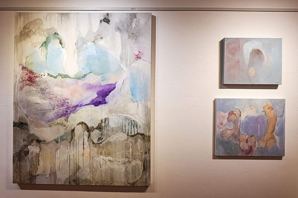 Pieces are displayed in the hallway of the Red Brick Center for the Arts for the Resident Artists Exhibition in Aspen on Thursday, November 14, 2019. (Kelsey Brunner/The Aspen Times)