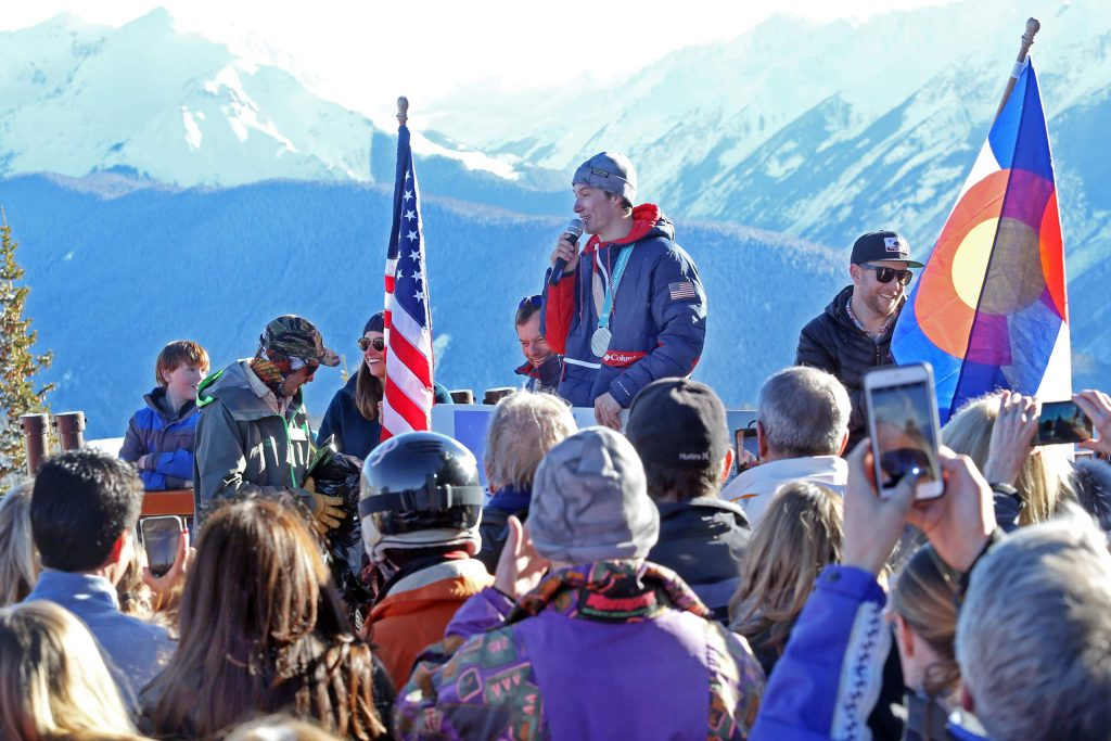 Alex Ferreira celebrates his 2018 Olympic silver medal with the community atop Aspen Mountain in 2018.