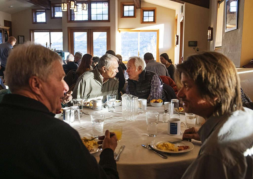 Rotarians enjoy their breakfast and conversation before the meeting officially begins in the Mountain Chalet on Thursday, November 7, 2019. (Kelsey Brunner/The Aspen Times)