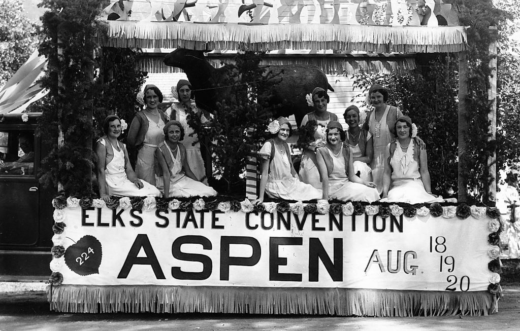 The Elks float in a parade held during the Elks Convention in Aspen, August 1932.